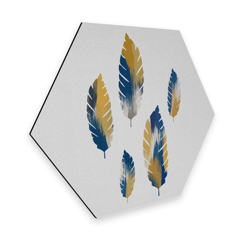Hexagon - Alu-Dibond Orara Studio - Leaves Blue and Yellow