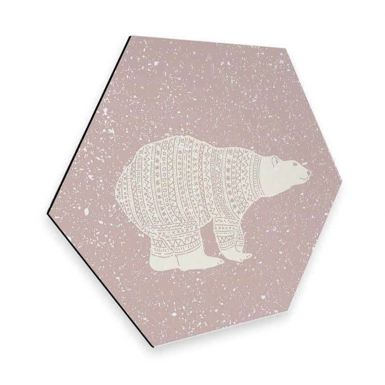 Hexagon - Alu-Dibond Polarbär Weiß