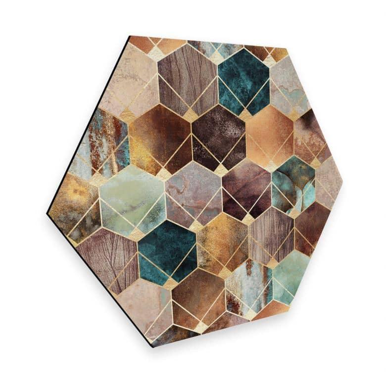 Hexagon - Alu-Dibond - Fredriksson - Gold & Copper
