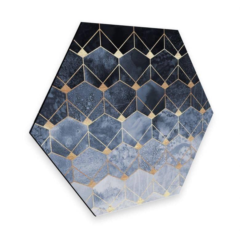Hexagon - Alu-Dibond Fredriksson - Hexagone: Blau und Gold