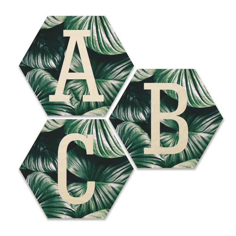 Hexagone Lettres décoratives - Bois placage de bouleau - Urban Jungle