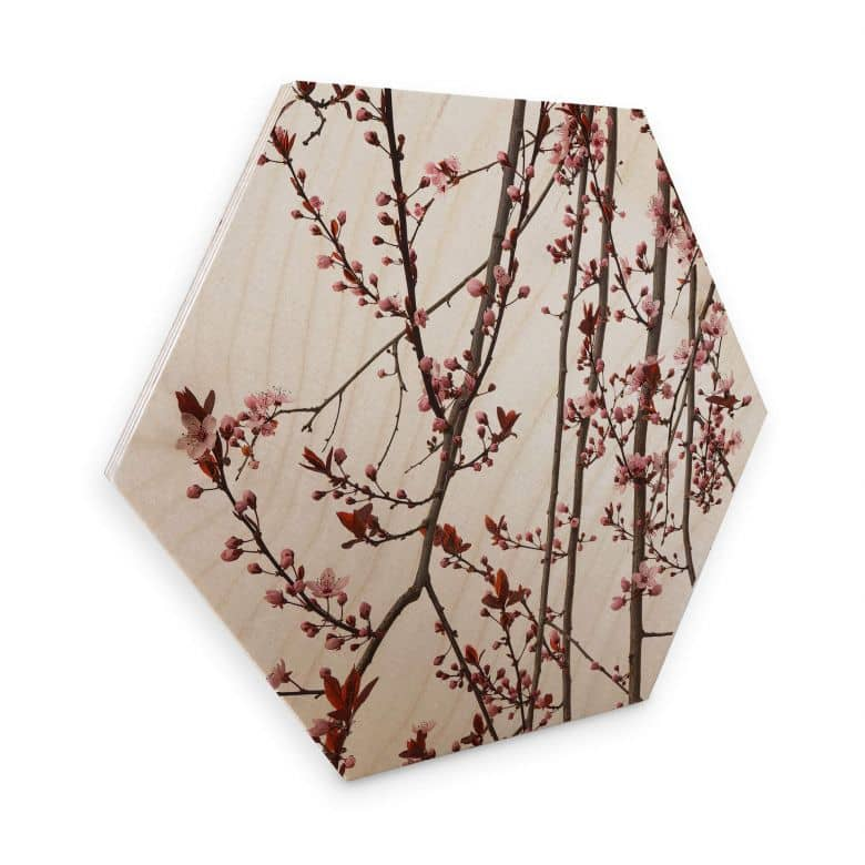 Hexagon wood birch veneer - Kadam - Almond Tree