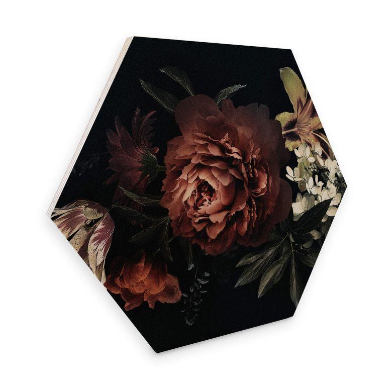 Hexagon - Holz Blumenbouquet Rot