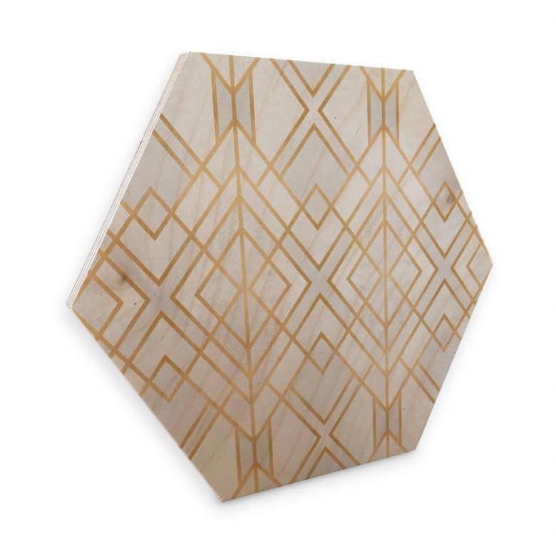 Hexagon - Holz Birke-Furnier Fredriksson - Goldene Geometrie
