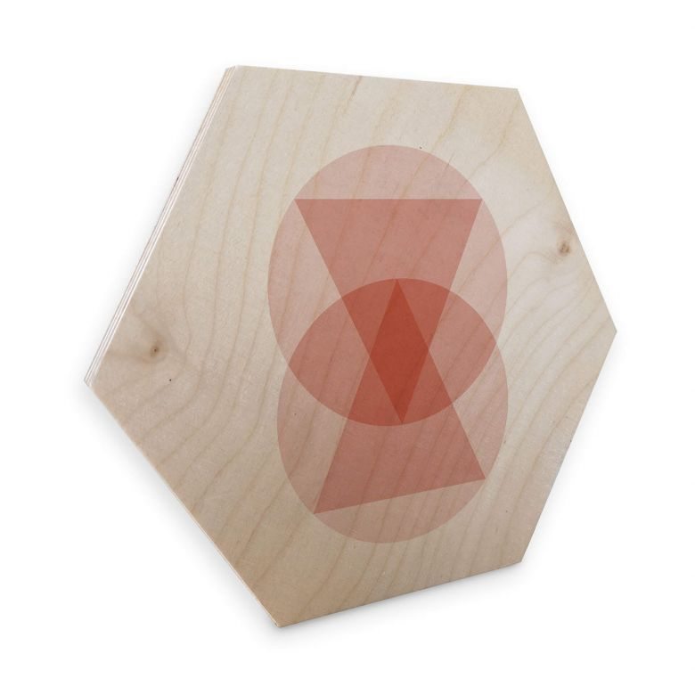 Hexagon - Holz Birke-Furnier Nouveauprints - Circles and triangles pink