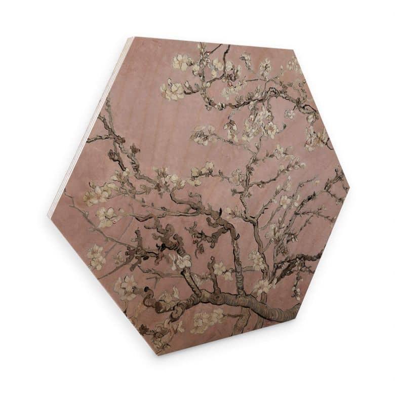 Hexagone - Bois - van Gogh - Amandier en fleurs rose