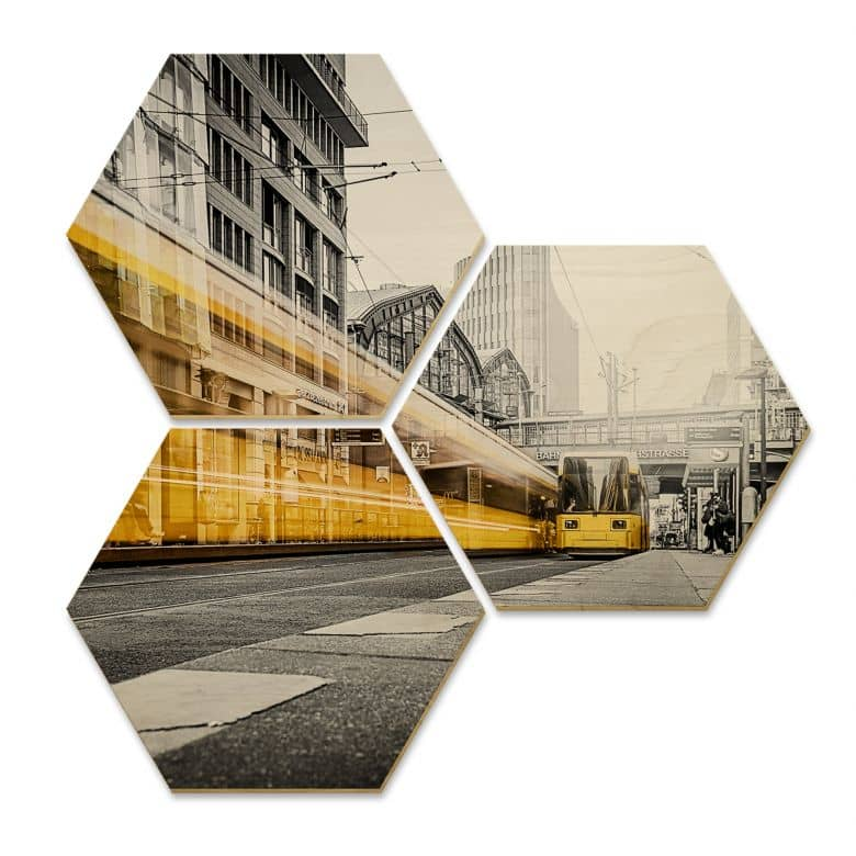 Hexagon - Holz Birke-Furnier - Berlin Friedrichstraße-02 (3er Set)