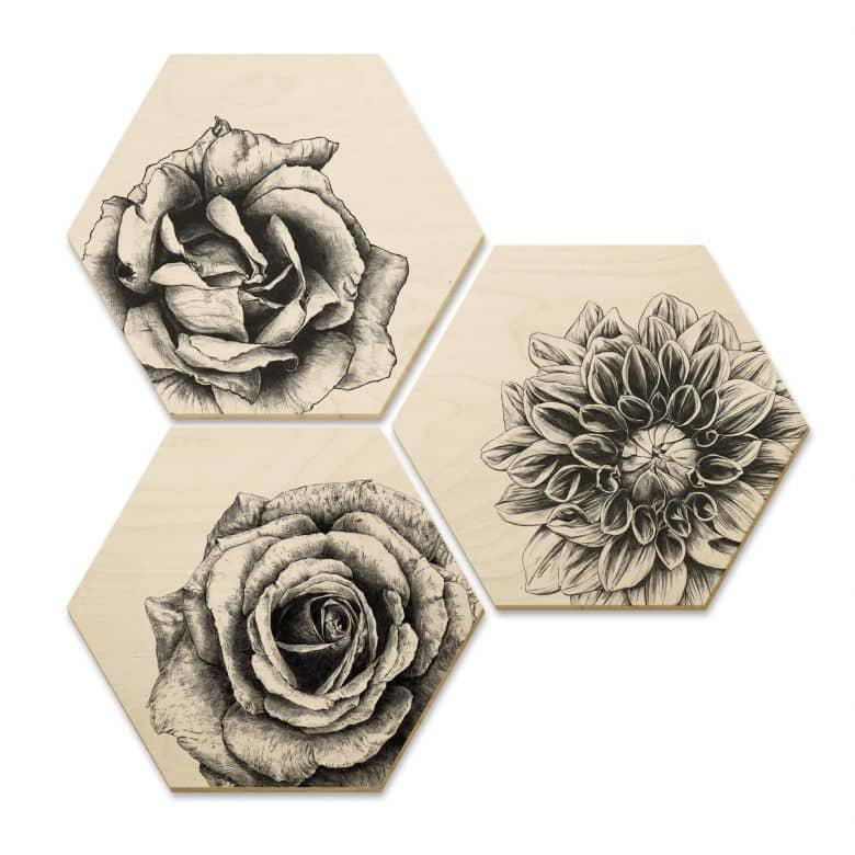 Hexagon - Holz Birke-Furnier Kools - Flowery 3er Set