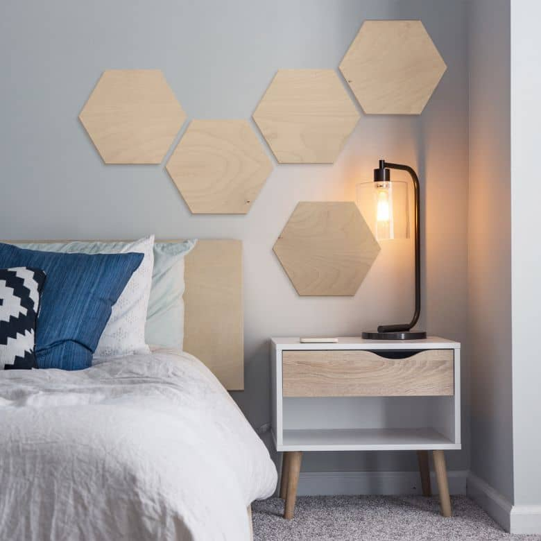 Hexagon - Holz Birke-Furnier (3er Set)