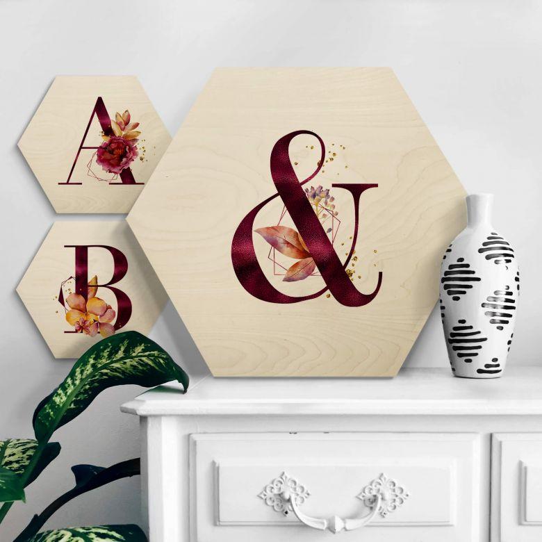 Hexagone - Placage bois de bouleau Lettres Alphabet fleuri bordeaux