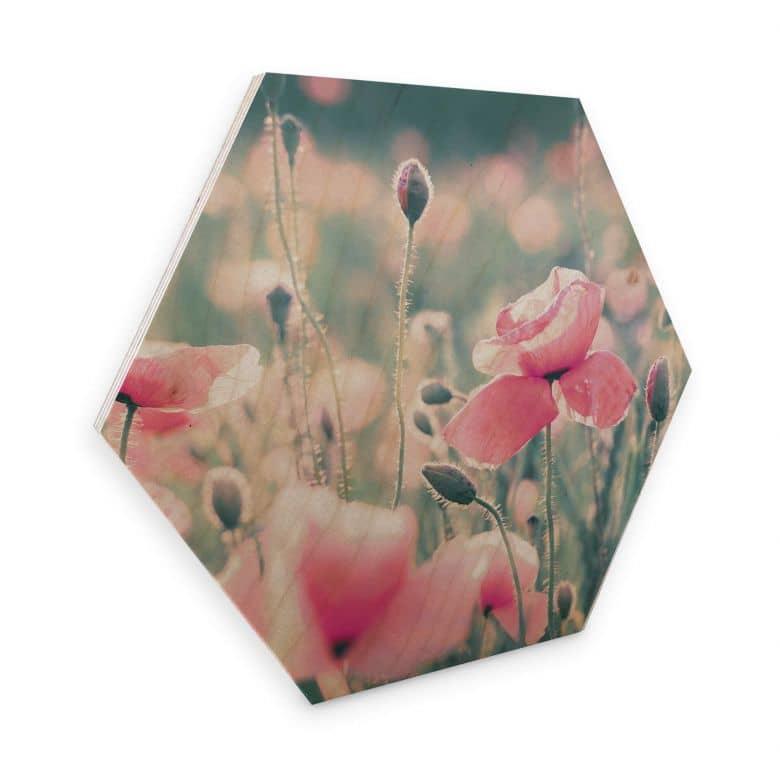 Hexagon hout Delgado - Pretty Poppies