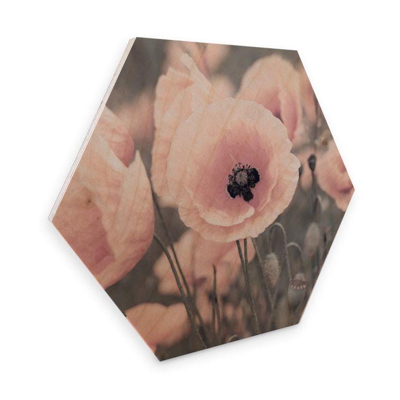 Hexagone - Placage bois de bouleau  Delgado - Coquelicot rose