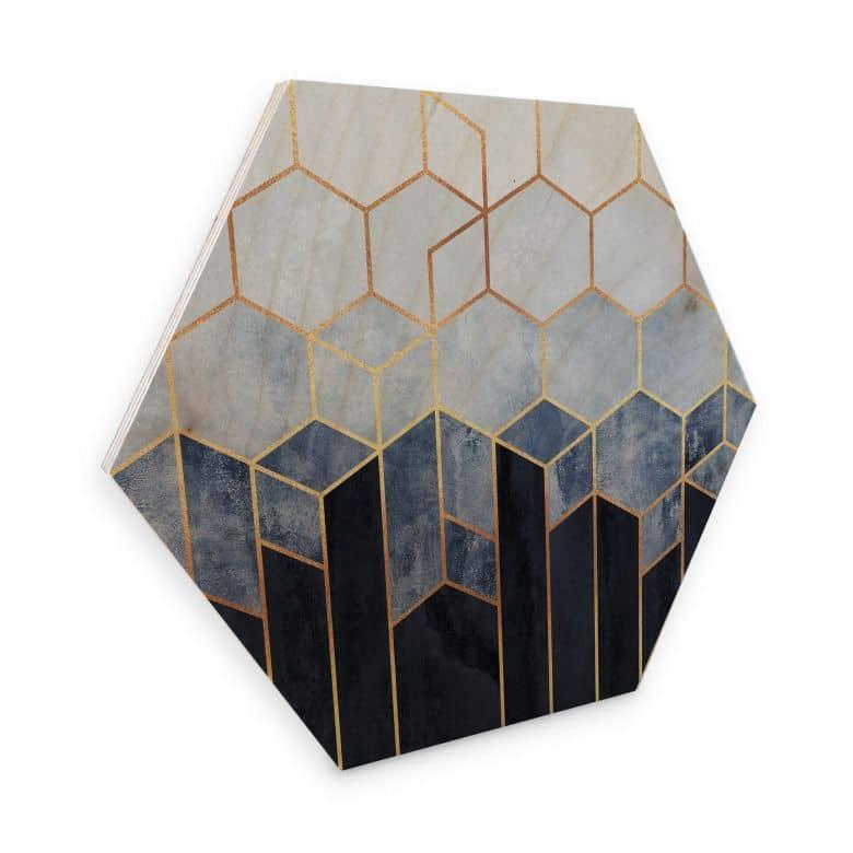 Hexagon Hout Fredriksson - Blauw Witte Hexagons