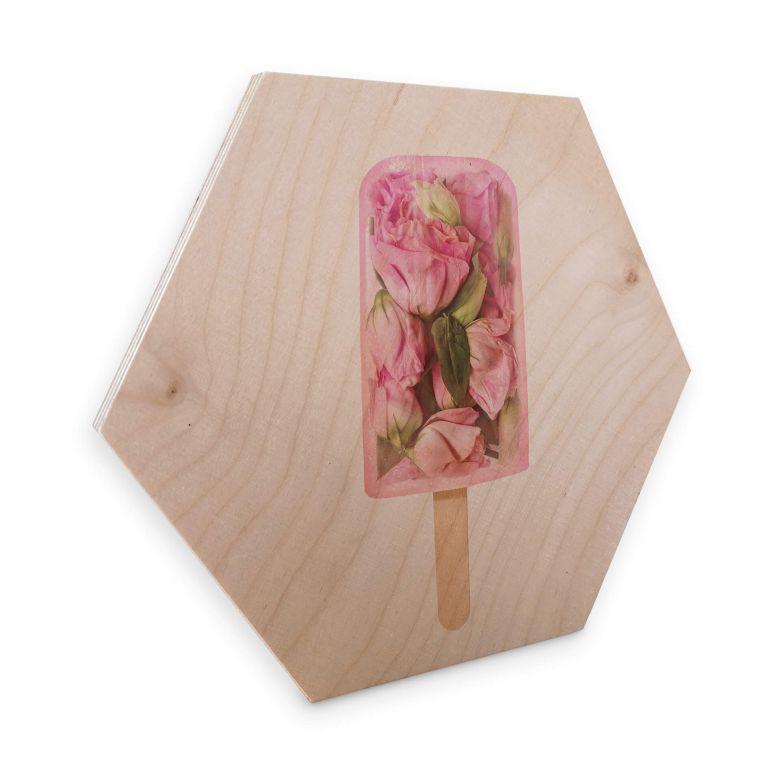 Hexagon - Holz Birke-Furnier - Fuentes - Blumen am Eisstiel