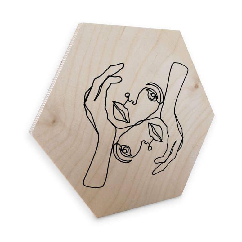 Hexagon - Holz Birke-Furnier - Hariri - Julie