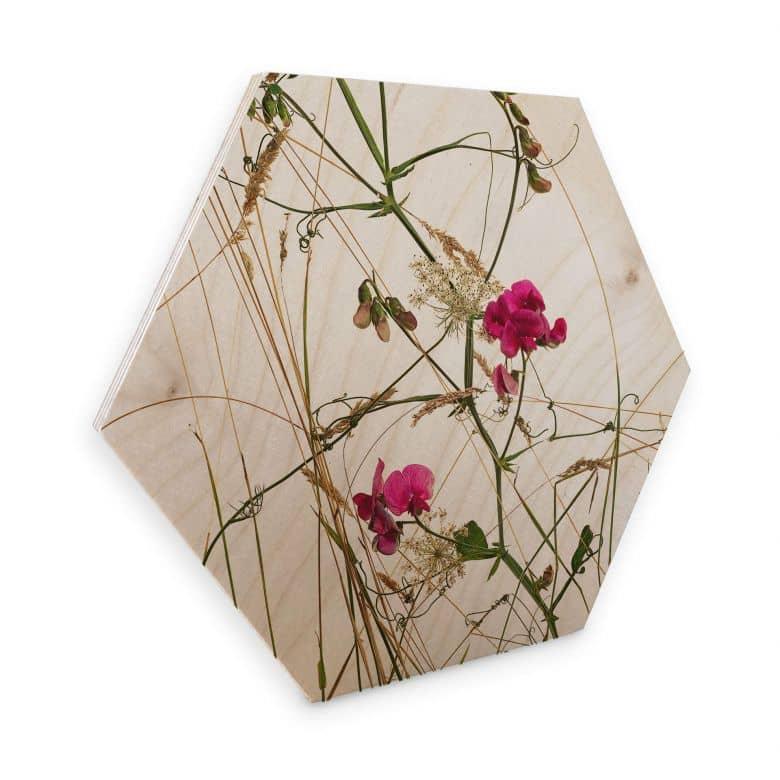 Hexagone - Placage bois de bouleau Kadam  - Arbre aux pois