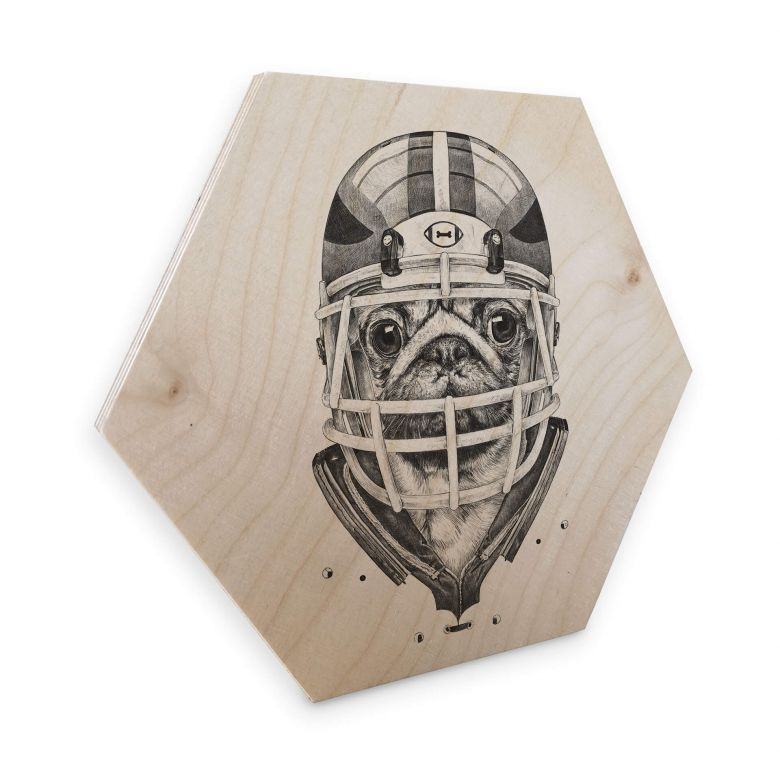 Hexagon - Holz Birke-Furnier Kools - American Pug Football