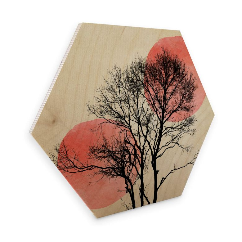 Hexagon Wood - Kubistika - Sun & Moon behind the trees