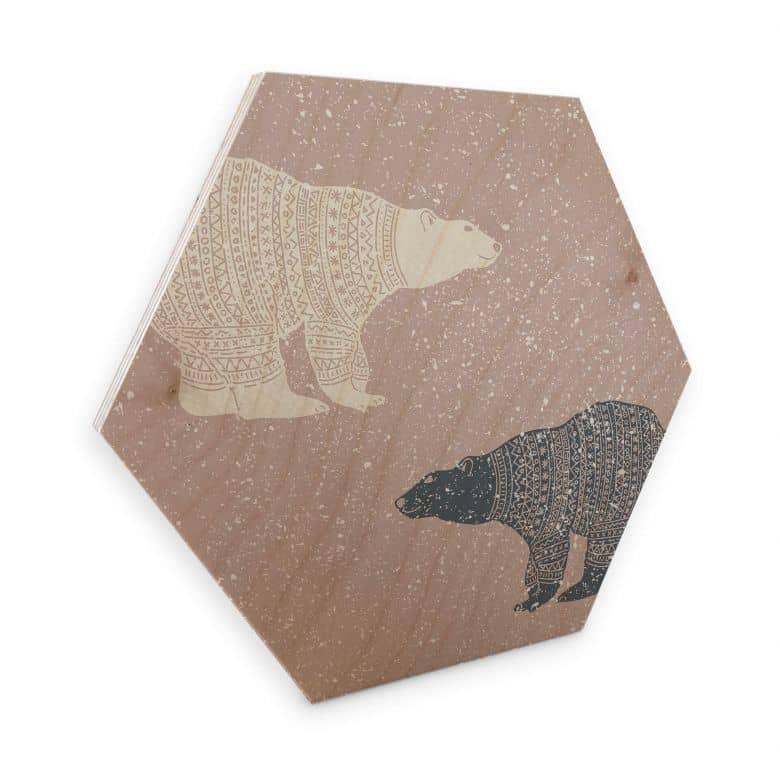Hexagon - Holz Birke-Furnier Polarbären