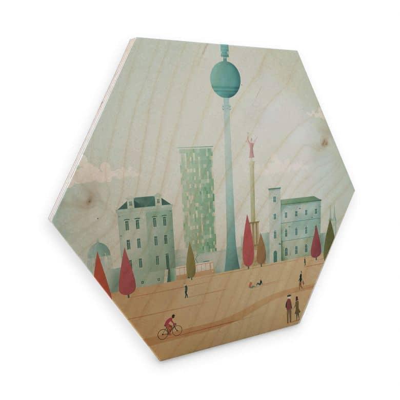 Hexagon - Holz Birke-Furnier - Rivers - Berlin