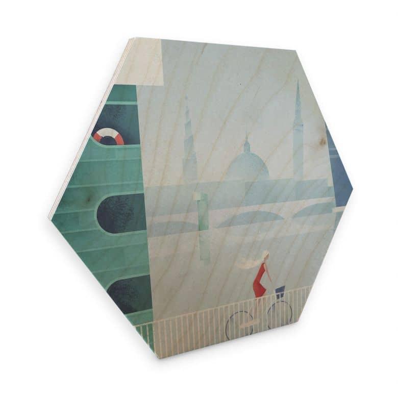Hexagon - Holz Birke-Furnier Rivers - Kopenhagen