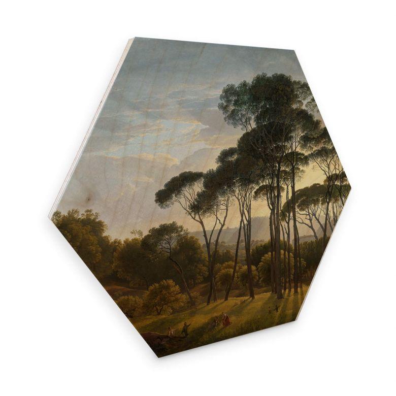 Hexagon - Holz Birke-Furnier Voogd - Italienische Landschaft mit Schirmkiefern