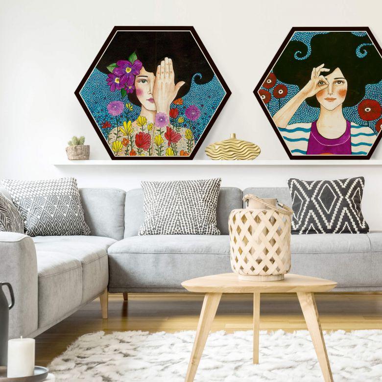 Hexagon - Holz Birke-Furnier - Hülya - Augenblicke (2-teilig)