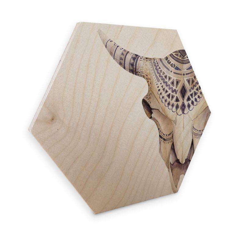 Hexagon Hout berkenfineer - Kvilis - Boho Skull