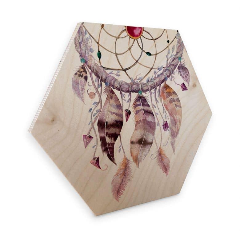 Hexagon Wood Birch Veneer - Kvilis Dream Catcher