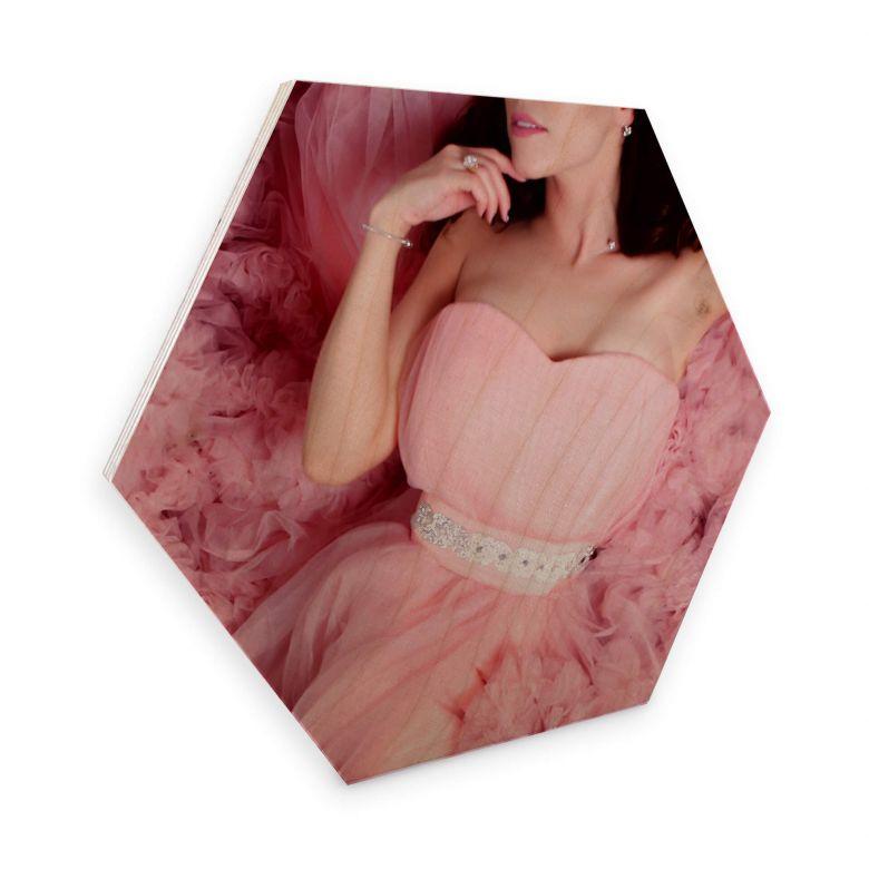 Hexagon - Holz Birke-Furnier - Das rosa Kleid