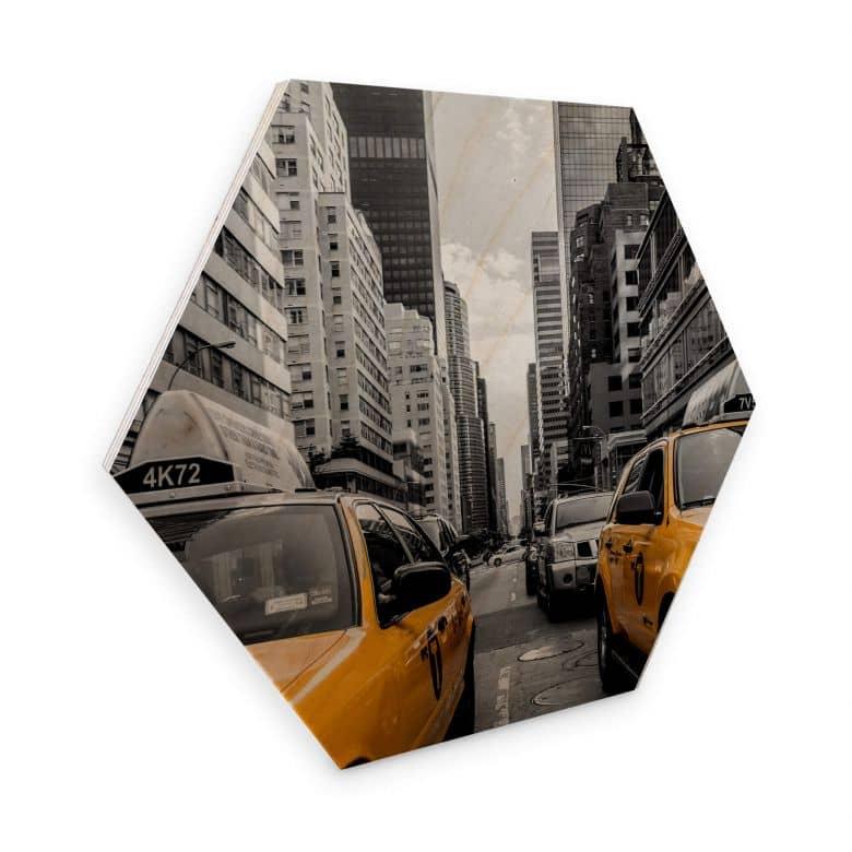 Hexagon - Holz Birke-Furnier - Streets in New York City