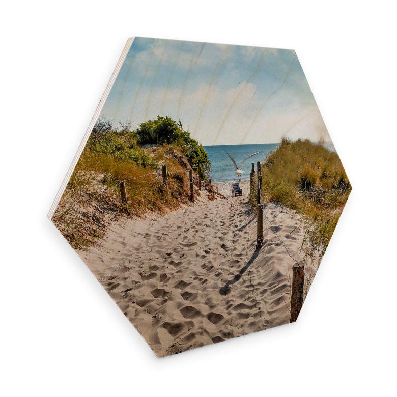 Hexagon - Holz Birke-Furnier - Way to the Beach