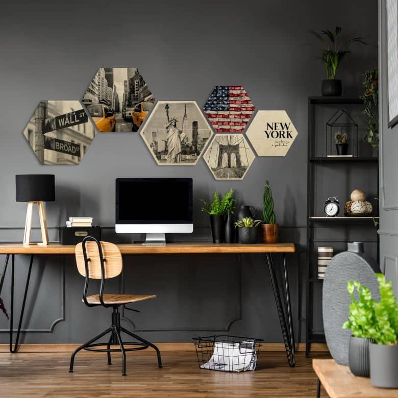 Hexagon Hout - set van 6 - New York