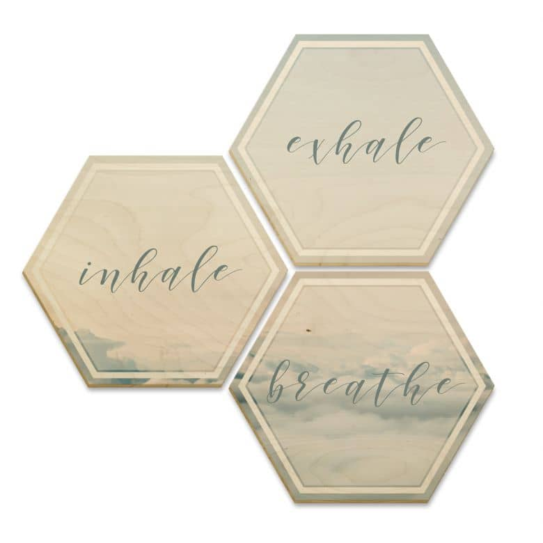 Hexagon Birch veneer - inhale, exhale, breathe