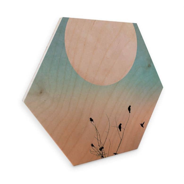 Hexagon - Holz Birke-Furnier - Kubistika - Warmer Morgen
