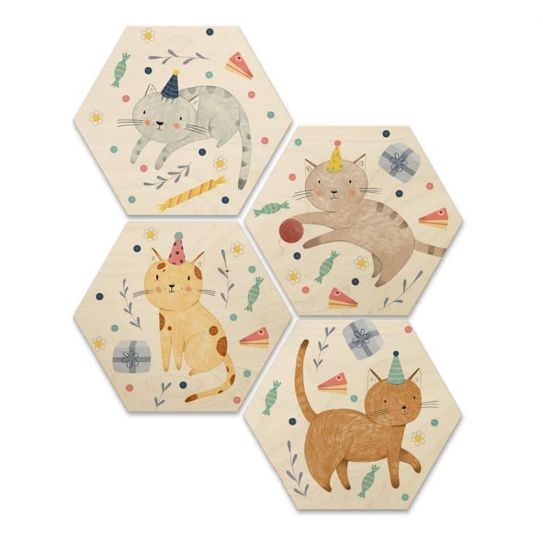 Hexagon - Holz Birke-Furnier Loske - Katzengeburtstag (4er Set) - 25x22 cm