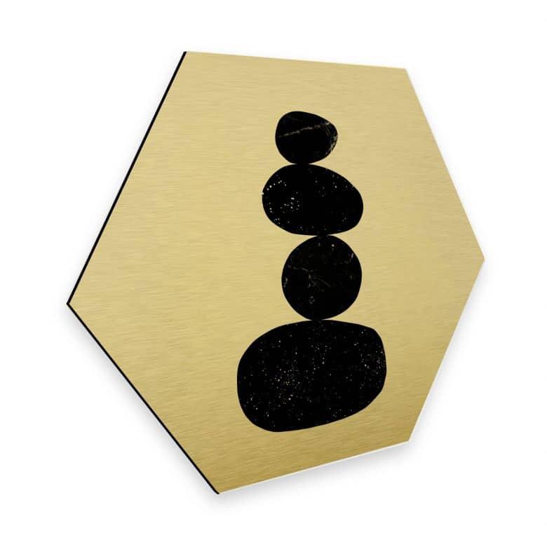 Hexagon - Alu-Dibond Goldeffekt Nouveauprints - Pebbles 3 black