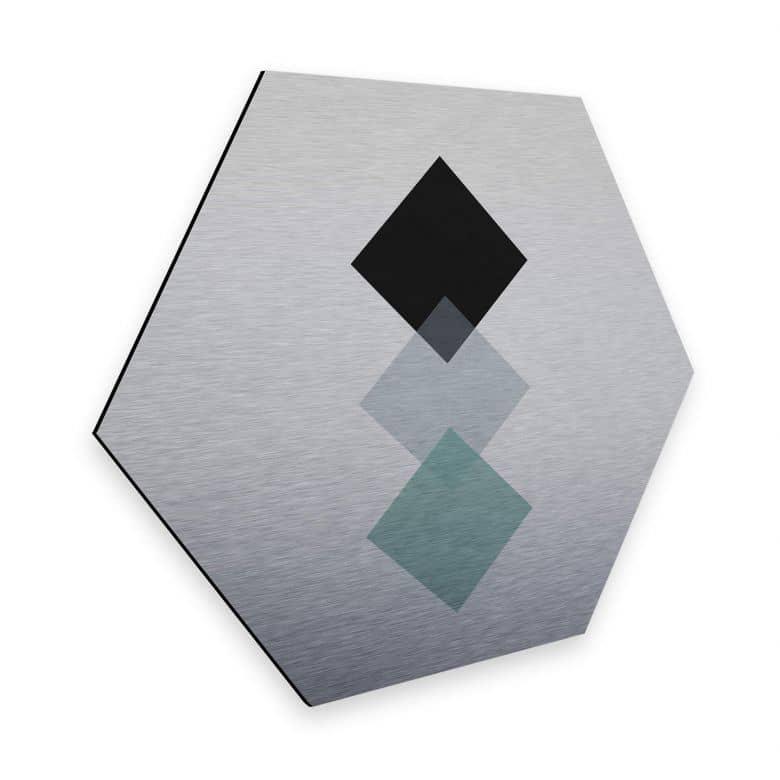 Hexagon - Alu-Dibond Silbereffekt Nouveauprints - Squares aqua