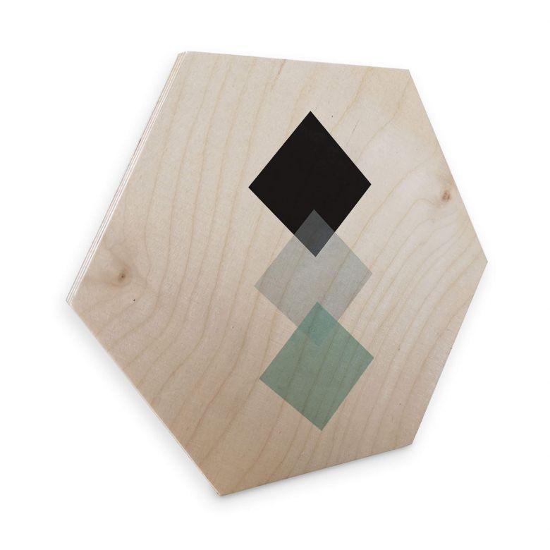 Hexagon - Holz Birke-Furnier Nouveauprints - Squares aqua