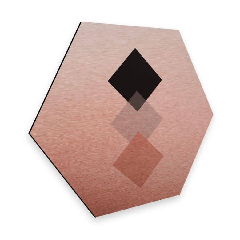 Hexagon - Alu-Dibond Kupfereffekt Nouveauprints - Squares Pink