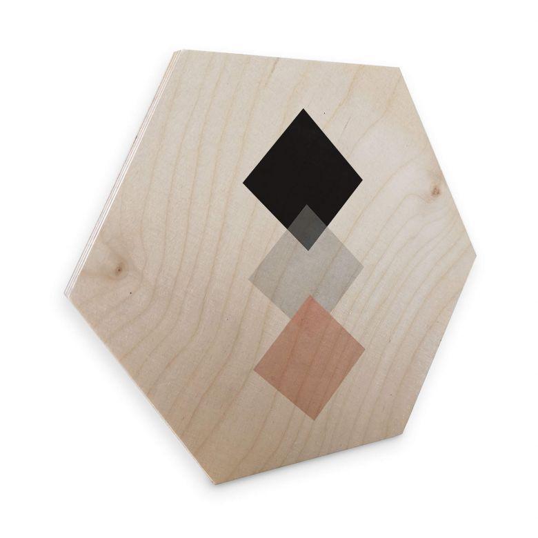 Hexagon - Holz Birke-Furnier Nouveauprints - Squares Pink