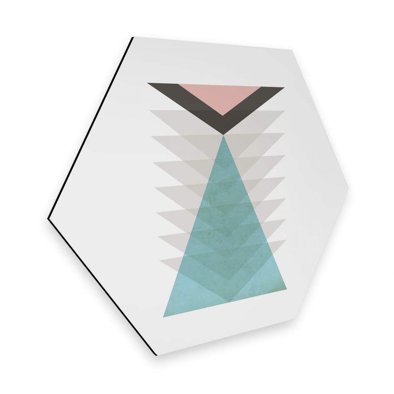 Hexagon - Alu-Dibond Nouveauprints - Totem aqua & pink