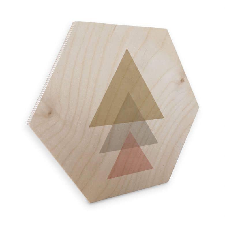 Hexagon - Holz Birke-Furnier Nouveauprints - Triangles pink