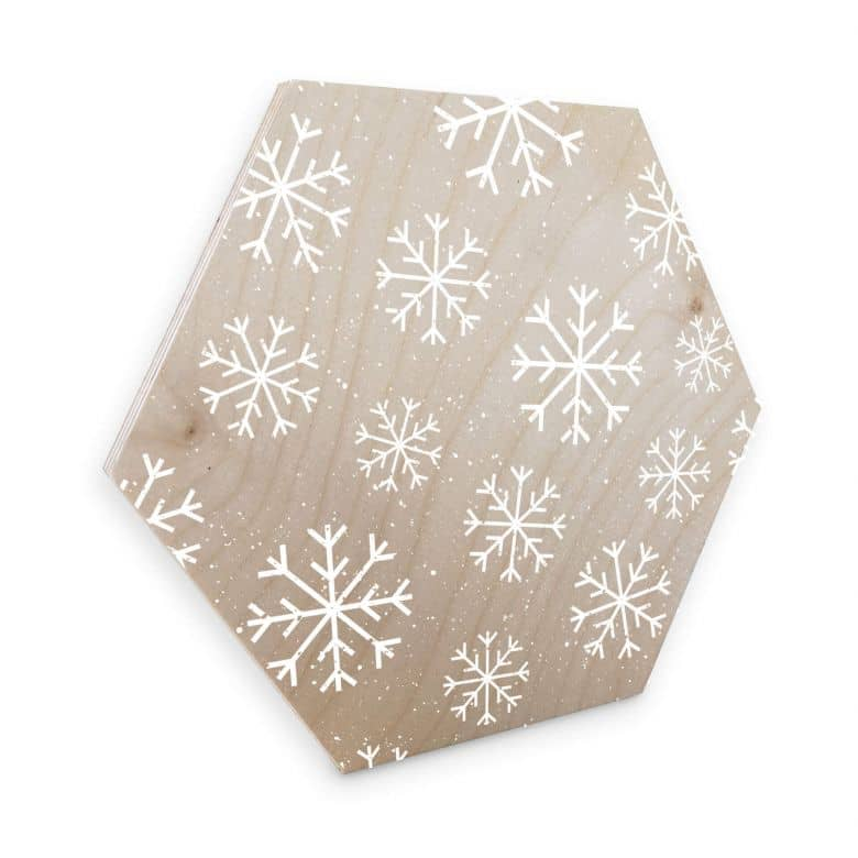 Hexagon - Holz Birke-Furnier Schneeflocken Eiskristalle Weiß