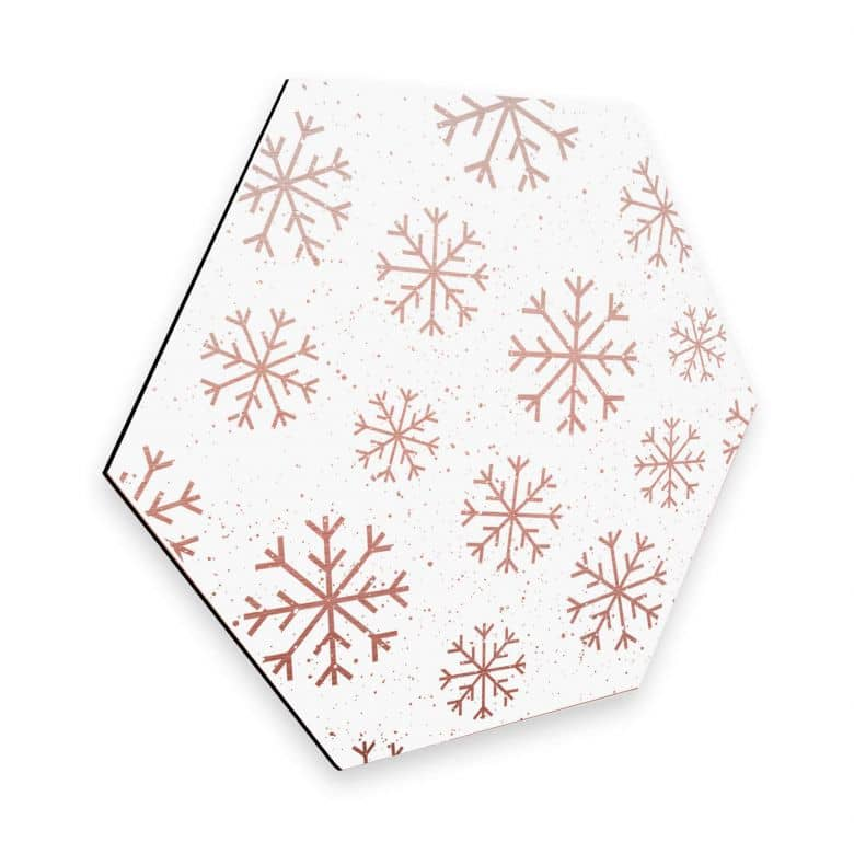 Hexagon - Alu-Dibond-Kupfereffekt Schneeflocken Eiskristalle