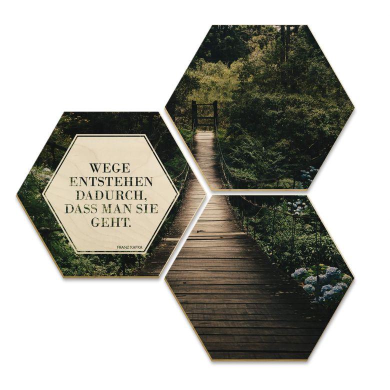 Hexagon - Holz Birke-Furnier - Wege entstehen dadurch, dass man sie geht (3er Set)
