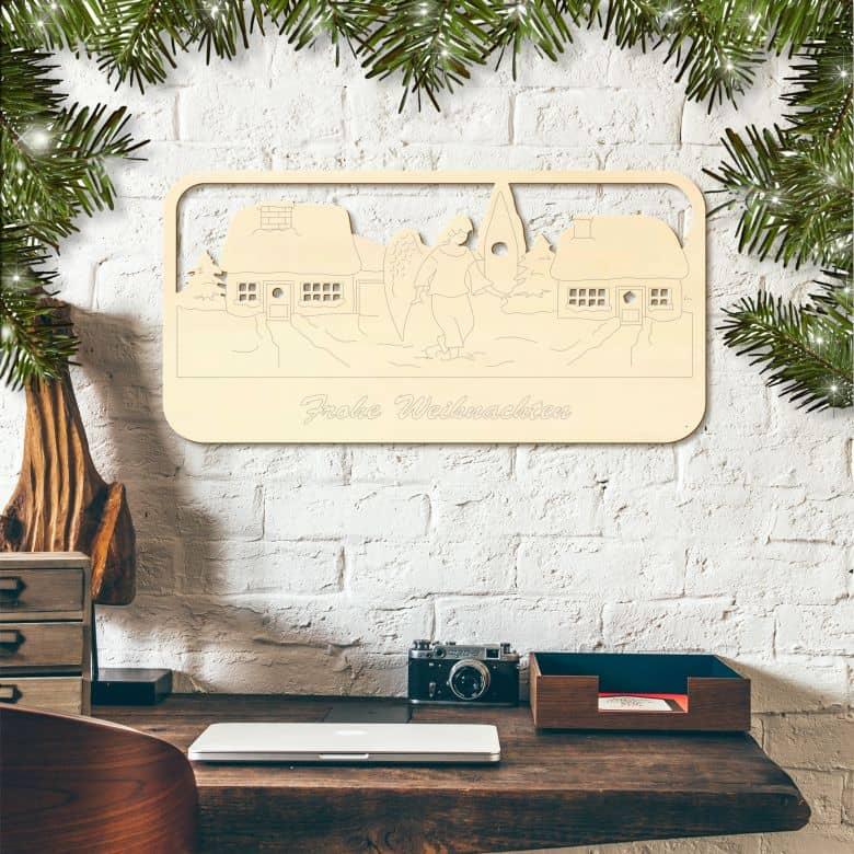 wandschmuck engelgefl ster weihnachtliche wandbilder als dekoration wall. Black Bedroom Furniture Sets. Home Design Ideas