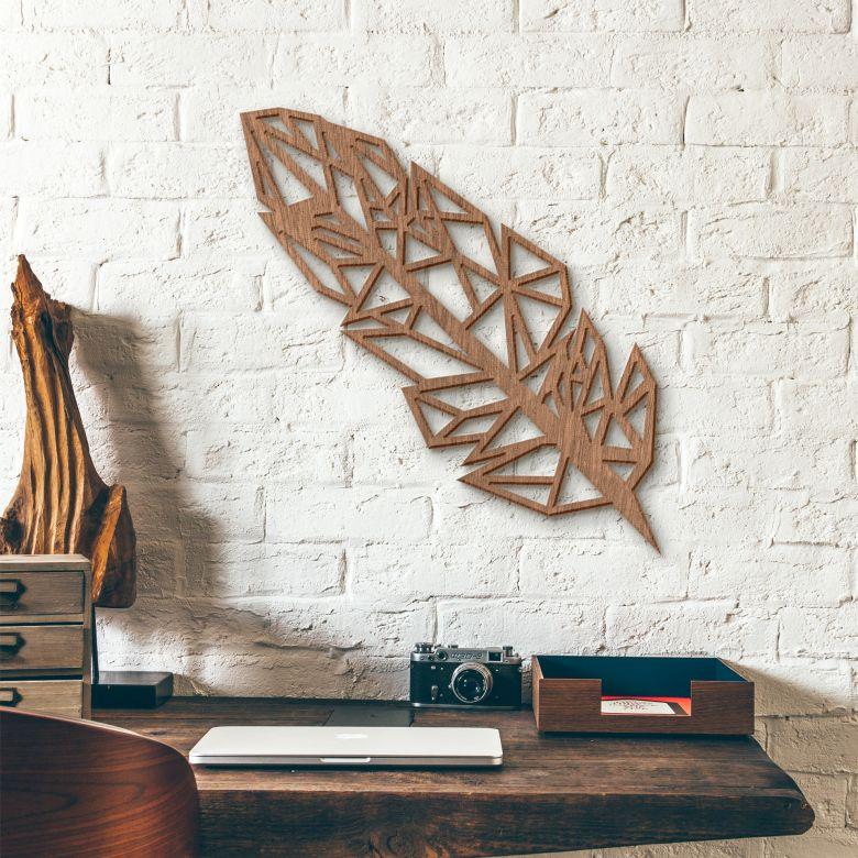 Decorazione in mogano - Piuma origami