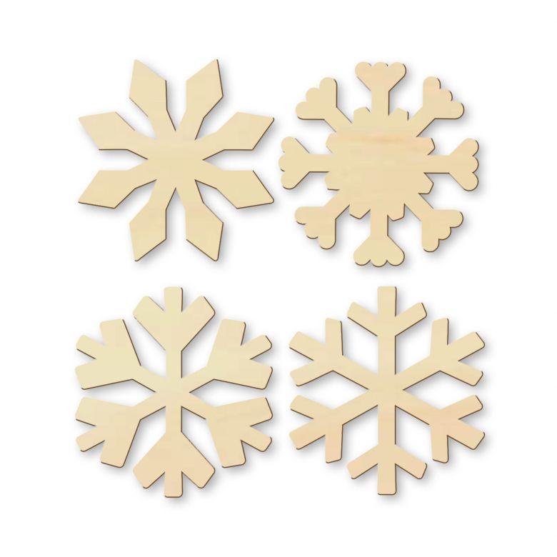 Holz-Streudeko Pappel - Schneeflocken