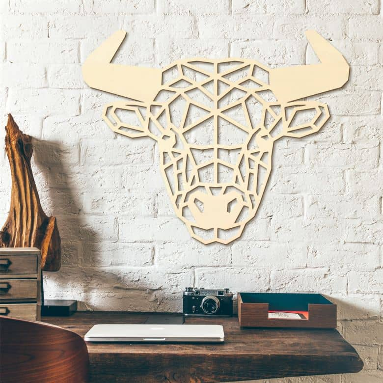 Décoration murale en bois peuplier - Taureau origami